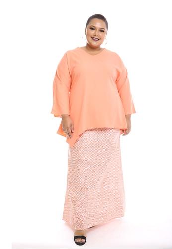 Seri Modern Kurung Batik from PLUMERIA in pink and yellow and brown_1