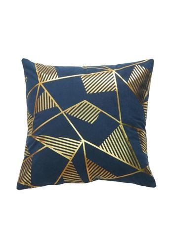 DILAS HOME Geometric Gold Print Cushion Cover (Royal blue) 0F952HLAC5258AGS_1