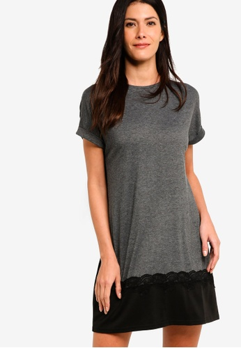 ZALORA grey T-Shirt Dress With Lace Trim 1B404AAD0F8807GS_1