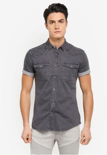 Topman 黑色 牛仔短袖襯衫 TO413AA0T1IGMY_1