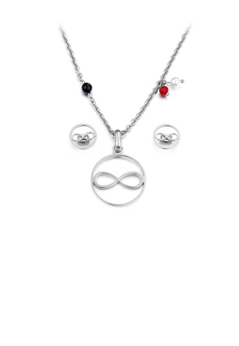 Glamorousky white Fashion and Simple Figure-of-eight Geometric Round 316L Stainless Steel Necklace and Stud Earrings Set 301EEAC29C984EGS_1