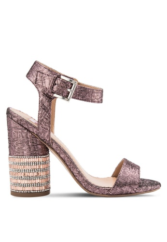 Miss Selfridge pink Castle Jewel Heel Sandals MI665SH42YNDMY_1