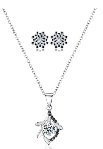 A-Excellence white Premium Elegant White Sliver Necklace Earring Set 3B693AC91F2C8FGS_1