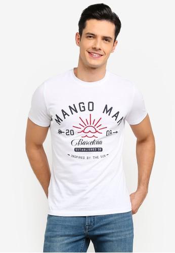 MANGO Man white Logo Cotton T-Shirt F793FAAF2A1913GS_1