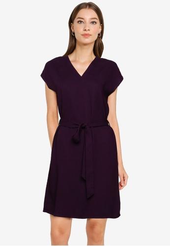 ZALORA WORK purple V Neck Self Tie Dress 2B53CAAB855CF1GS_1