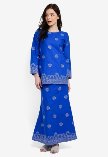 Cotton Modern Kurung With Songket Print (Tabur) from Kasih in Blue and Silver