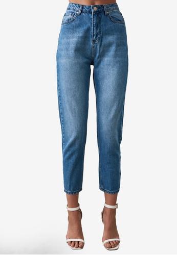 Trendyol blue Washed High Waist Mom Jeans BFFA9AA81F4681GS_1