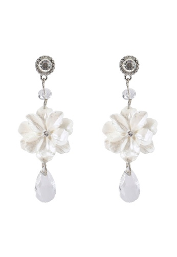 Saturation white Statement White Bloom and Crystal Earrings 3B5C5AC9502D85GS_1