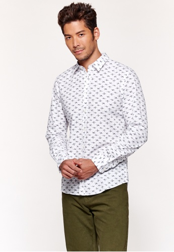 United Colors of Benetton white Printed Shirt D152EAAFB41034GS_1