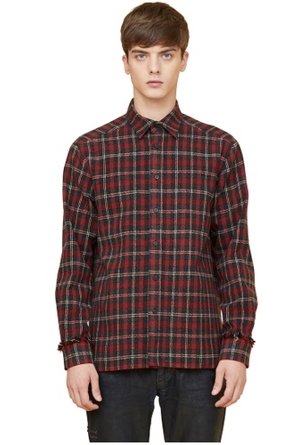MILLOGREM red Wool Fringe Heavy Check Shirts  MI241AA0GE66SG_1