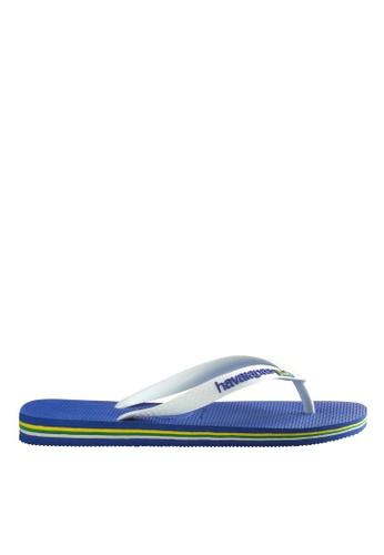 Havaianas blue Brasil Logo Flip Flops 7CAAESH7CF74E3GS_1