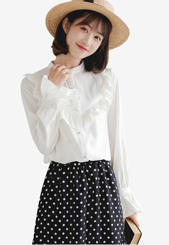Shopsfashion white Ruffles Full Sleeve Blouse 5D0A1AA2F2C251GS_1