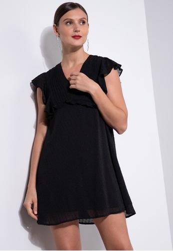 ZALORA OCCASION black V Neck Babydoll Dress With Ruffles 177BEAA9F6AD19GS_1