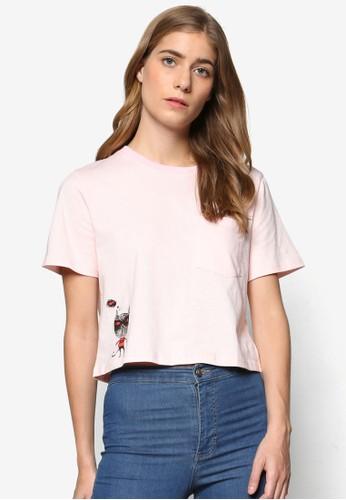 Pink Evil × Darren 聯名短版圖案設計TEE, 服飾esprit地址, 上衣