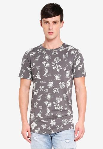 Jack & Jones 灰色 短袖印花T恤 31A9DAAA444B7BGS_1