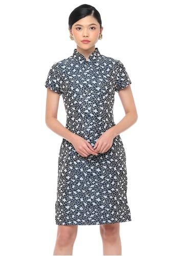 Mandarin Peony Cheongsam gold and navy Mandarin Peony GEOMETRY Cheongsam Dress 6A30DAA9491306GS_1