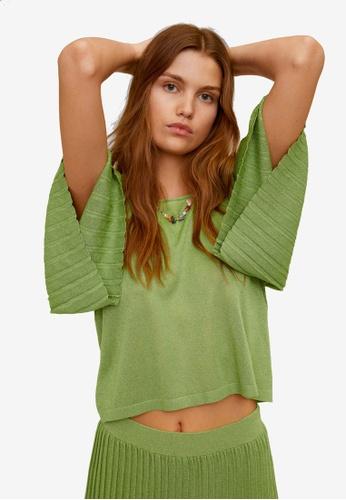Mango green Pleated Knit Sweater F8099AA72928F1GS_1