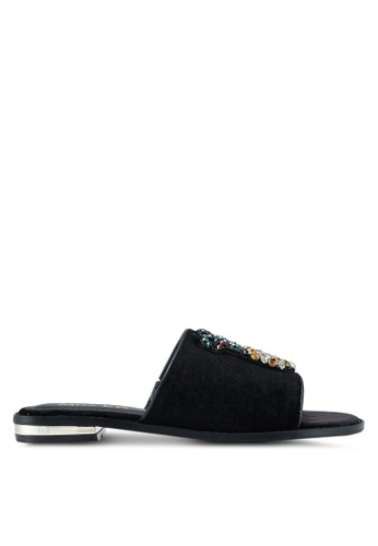 Miss KG black Rona Black Fabric Sandals E3765SH266643EGS_1
