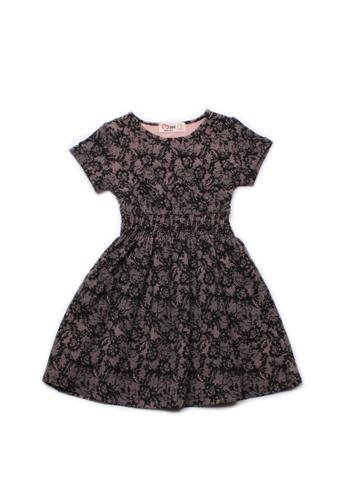 Mini Moley black Floral Mesh Print Girl's Skater Dress 02765KA5085AEAGS_1