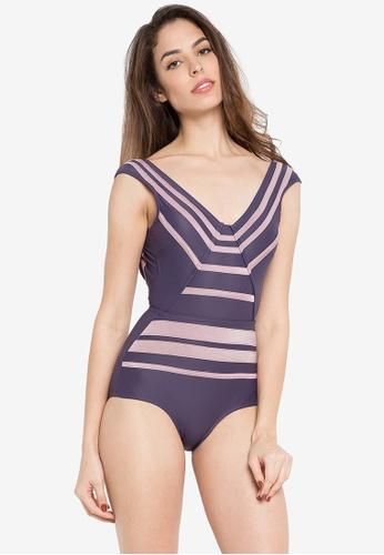 Yuminum Bikini purple Sculpting Cup Sleeve Deep Back Maillot  97ED0US5F8BBDEGS_1