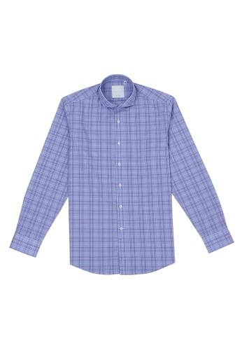 Benjamin Barker blue Giltspur Blue Glencheck Shirt 58EF4AA1415316GS_1
