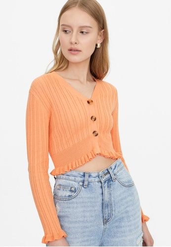 Pomelo orange Frill Hem Buttoned Cardigan - Orange CDEC6AA8CA6641GS_1