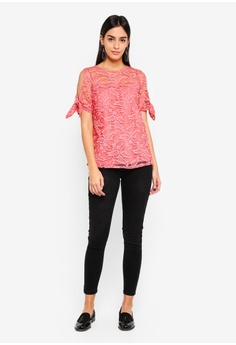 8450cce2313 58% OFF Dorothy Perkins Coral Lace Tie Sleeve Tee S  63.90 NOW S  26.90  Sizes 6 8 10 12 14