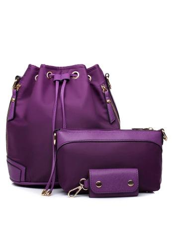 Vince purple Korean Style Nylon Bucket Bag Set Of 3 ( Purple ) VI456AC47CUQMY_1