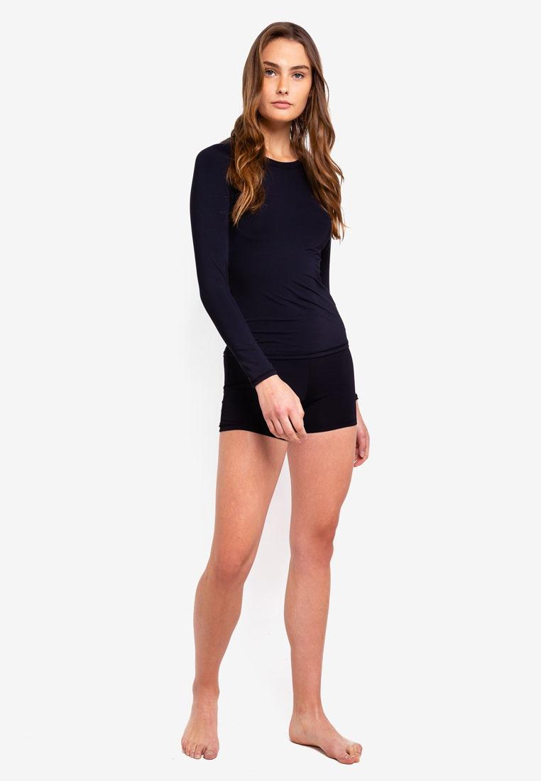 Sleeve Callie Cotton Swim Top Long Black On Body 7Zw4xq8I