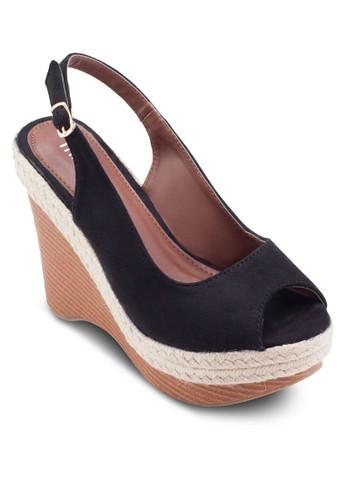 露趾繞踝麻編楔型esprit旗艦店跟鞋, 女鞋, 楔形涼鞋