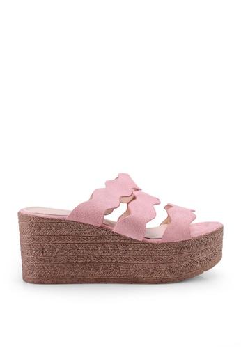 nose pink Scallop High Heel Wedge Slides D69B4SH7149CF8GS_1