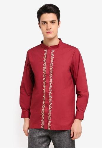 Zalia Homme 紅色 Embroidered Mandarin Collar Top 56268AA4AA4689GS_1