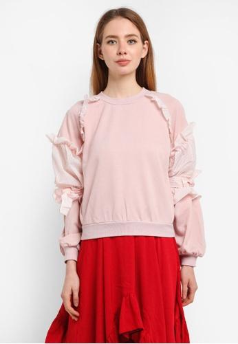LOST INK pink Seersucker Woven Trim Sweatshirt A9C1FAA3234845GS_1
