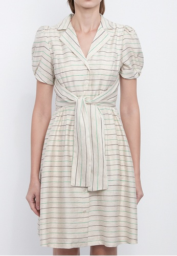 Dkny white DKNY Women Stripe Linen Shirt Dress 6FC6CAA178D17AGS_1