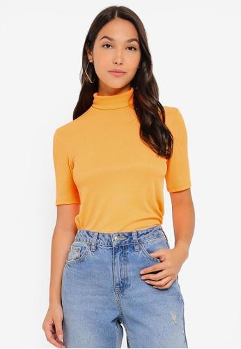 Pieces 橘色 高領上衣 DC2D0AA8DB2840GS_1