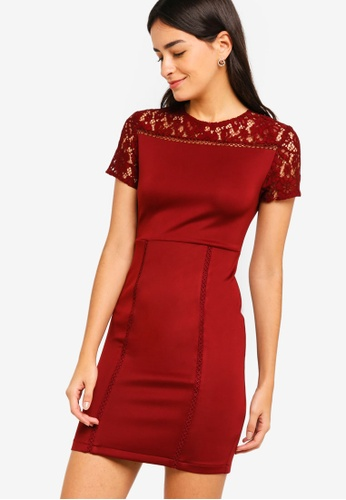 ZALORA red Lace Scuba Dress 72C55AAD6F1CB2GS_1