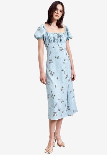 URBAN REVIVO blue Floral Ruched Midi Dress 67830AA9DAB2B9GS_1