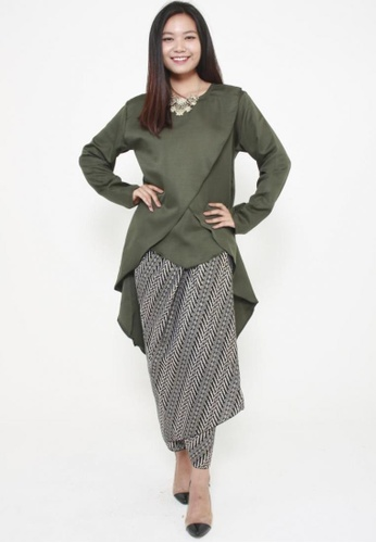 Naphthys Collection green Eesha Long Sleeves Tunic D2C0DAA3037417GS_1