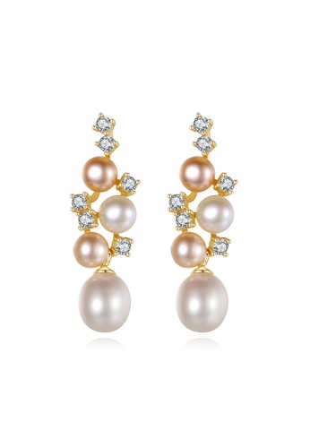 A.Excellence pink Premium Pink Pearl Elegant Earring B9D5FACC96575EGS_1
