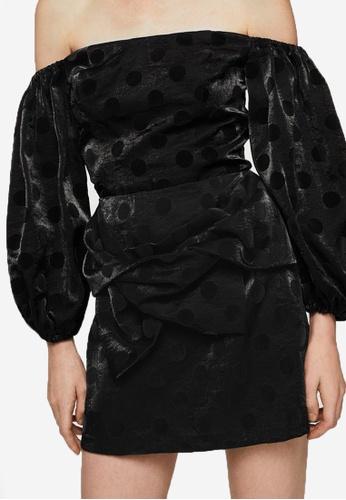 Mango black Polka-Dot Velvet Skirt MA193AA0RVZBMY_1
