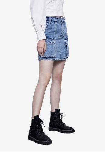 URBAN REVIVO blue Casual Denim Skirt D6F77AA90D2CBBGS_1