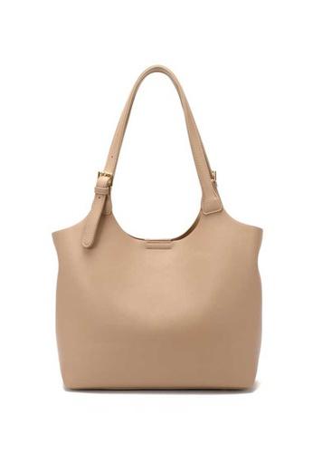 Lara beige Women's PU Leather Zipper Tote Bag - Dark Beige 531ACAC42120B3GS_1