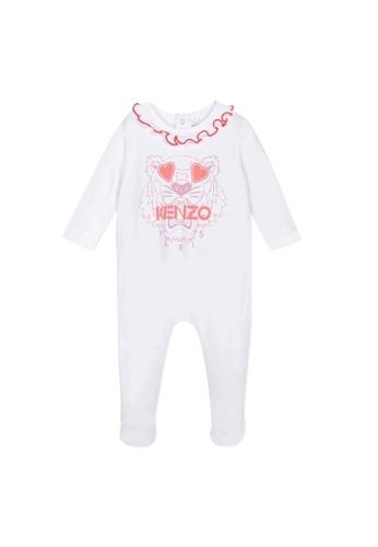 KENZO KIDS white and pink KENZO TIGER ROMPER FOR BABY GIRLS 23B83KA340D25BGS_1