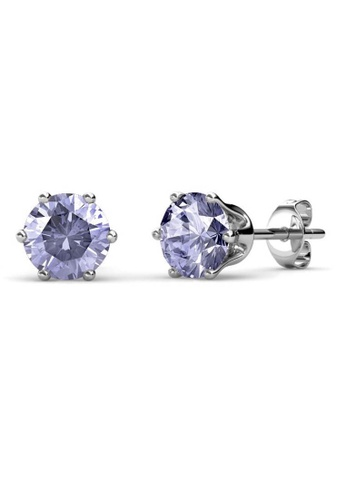 Her Jewellery purple Birth Stone Earrings (June, White Gold) - Made with premium grade crystals from Austria 461E1AC0F380D0GS_1