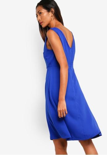 ZALORA BASICS blue Basic Fit And Flare Dress 7F690AA953B04BGS_1