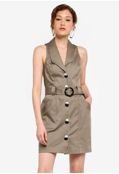 9337e05b River Island brown Sleeveless Brown Utility Bodycon Dress E0712AAF334D83GS_1