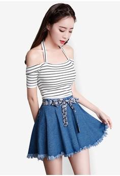 Frayed Hem Denim Skater Skirt. Get your Frayed Hem Denim Skater Skirt at Zalora Now!!...