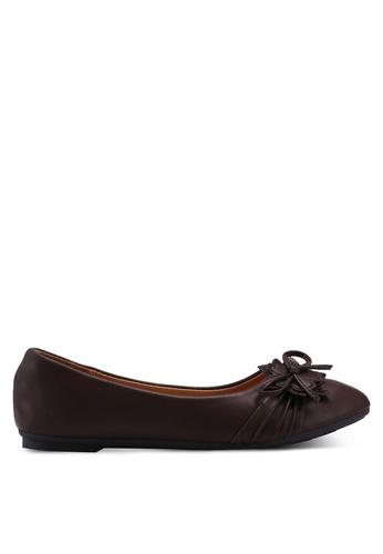 Noveni brown Round Toe Flats With Bow FB2D4SH8E018EBGS_1