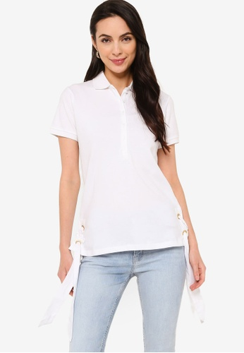 Sacoor Brothers white Women's Polo Shirt With Grommet Detail A2F06AA7EBD379GS_1