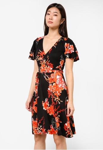 Dorothy Perkins black Oriental Print Wrap Dress DO816AA0RJPVMY_1